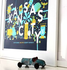 Kansas City Print - a city so great, one state couldn't contain it | Tad Carpenter Creative