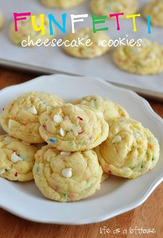 Funfetti Cheesecake Cookies (uses Funfetti cake mix & instant cheesecake pudding mix plus sprinkles & white chocolate)
