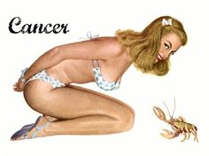 Zodiac Pinup...even the crab knows 'Pretty' when it sees it