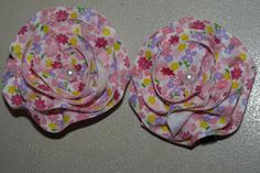 floral hair clips by mylittlebows on Etsy,