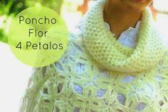PATTERN FREE Poncho Flor 4 Petalos con Cuello Instrucciones - Patrones Crochet