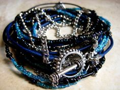 "***Limited time offer 10% OFF with coupon code   PIN10   used upon checkout......Boho Chic Endless Leather and Chain Wrap Beaded Bracelet...Sultry South Beach Nights....""FREE SHIPPING""  by LeatherDiva, $38.00"