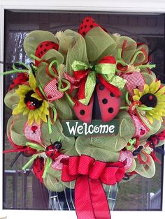 Green and Red Mesh Ladybug Wreath by WreathsEtc on Etsy, $95.00