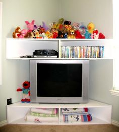 If I ever put a TV in the playroom it will go in the corner like this.