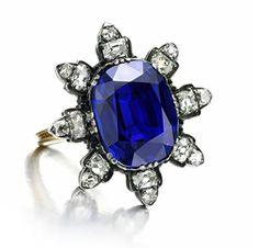 An Antique Burmese Sapphire And Diamond Ring    c.19th Century