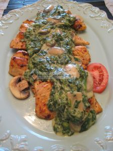 Chicken Florentine INGREDIENTS:  3 large chicken breasts, deboned and skinned  1 T. unsalted butter  ½ lb. fresh mushrooms sliced thick  1 clove minced garlic ...