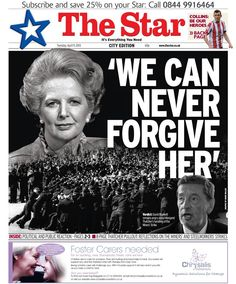 The Sheffield Star after Margaret Thatcher's death
