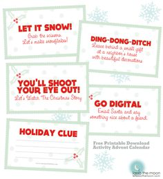 Action Adventure Advent Calendar Printables