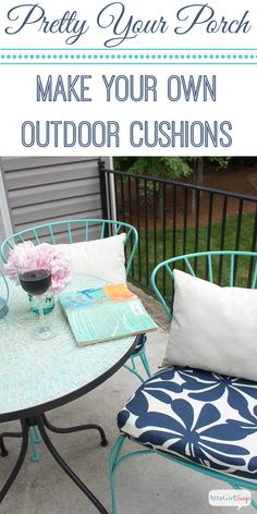 Atta Girl Says | Porch Makeover Progress: DIY Outdoor Chair Cushions | http://www.attagirlsays.com