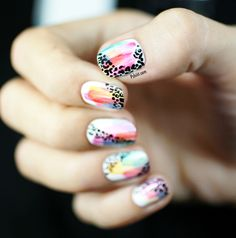 Watercolor and leopard print nailart