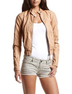 Dusty Pink Pleather Bomber Jacket: Charlotte Russe  bought it <3