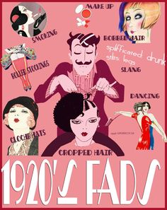 Popular Fads of 1920s Fashion - Infographic. #Downton #Fashion #Era