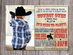 custom made western birthday party invitations | Modern Cowboy Birthday Party Invitation Photo by PinchOfSpice