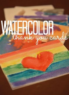 Watercolor thank you cards--Fun & easy craft project for kids.  Grandparents LOVE these!