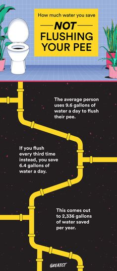 Limiting your flushing could save up to 2,336 gallons of water per year! More on Greatist.com.