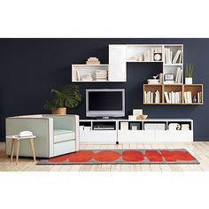 """hyde white 30"""" wall mounted cabinet in storage   CB2 30""""W x 12""""D x 14""""H $230"""