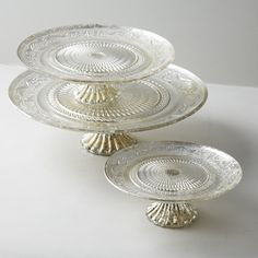 Antiqued Silver Glass Cake Plates, Set of 3