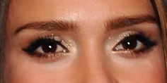 Lovely Holiday Eye Makeup Idea: Jessica Alba's Wash of Pale Gold Glitter: Girls in the Beauty Department eye makeup, eyebrow