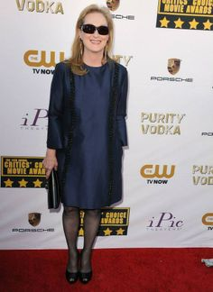 Meryl Streep wearing our Autumn '13 navy dress with embroidery detail at the 2014 Critics Choice Awards in Los Angeles.