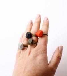 solid colored geo rings by AMM Jewelry