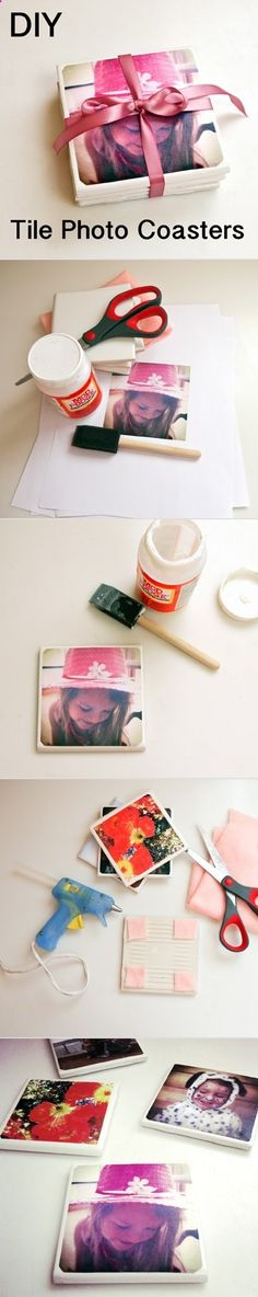 Great idea for event. residents can use in their rooms or apts. Tile is really cheap. Have residents bring their own photos. Maybe bring a few photos of places on your campus for those who dont have a printer. These are awesome as gifts too. BEST DIY Mothers day gift. Its so easy to make and so meaningful.