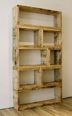 DIY Pallet Bookshelf, basically make a bunch of square and nail together. do this for boys room& using my resource of pallet company this will be FREE other than my nails!!