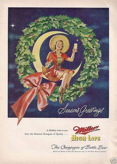 Miller High Life vintage ad.  Christmas theme. 1949
