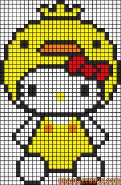 Hello Kitty duck perler bead pattern