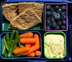 Hummus, blueberries, carrots, beans and whole wheat pita