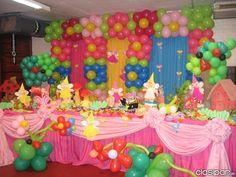 Decoraciones con telas y globos on pinterest balloon - Decoracion de fiestas infantiles ...