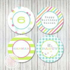 Party Printable Cupcake Toppers  Confetti by PetitePartyStudio, $9.00