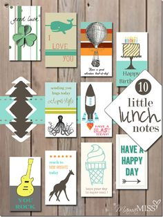 FREE printable 10 Little Lunch Notes   Mama Miss  #lunchbox #freeprintable #kidlunch