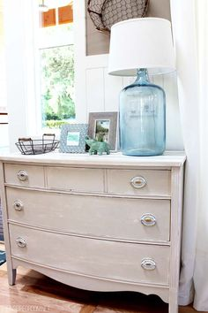 Decorating for Summer in the Entry painted furniture, dresser, bottle lamps