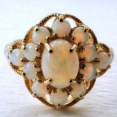 opal rings, fire opal, vintag opal