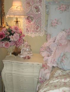 rose, shabby chic bedrooms