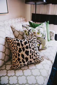 #pattern, #sofa, #animal-print, #pillow  Photography: Jessica Bosse - jessicabosse.com  Read More: http://www.stylemepretty.com/living/2014/02/18/meredith-herons-office/