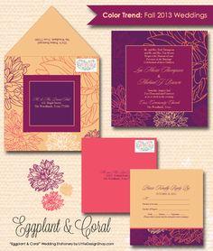 """""""Eggplant & Coral"""" Wedding Invitation Suite   Designed by Little Design Shop   www.facebook.com/littledesignshop"""