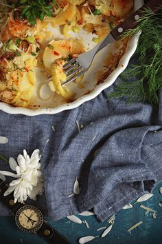 Potato and Courgette Gratin with Leek, Dill and Tomato Sauce
