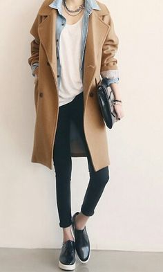 White t-shirt, chambray shirt, camel jacket, black jeans, sneakers