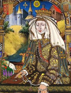 Eleanor of Provence, wife of Henry III of England - looks like a white rose at the top.