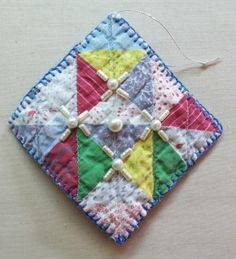 Upcycled Quilt Handmade Christmas Ornaments with Blanket-Stitching