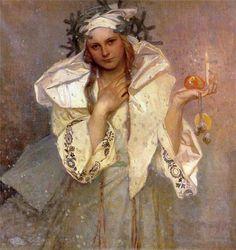 christmas cards, winter art, alphons mucha, art blog, czech republic, artist, christmas paintings, art nouveau, alphonse mucha