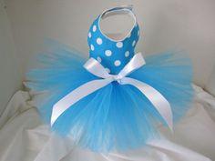 Dog Tutu XXS Blue  With White Polka Dots  By by NinasCoutureCloset, $25.00