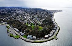 An awesome aerial shot of North Admiral, California ave and Alki Beach