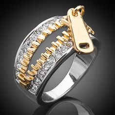 Swarovski crystal 18K gold and silver zipper ring!