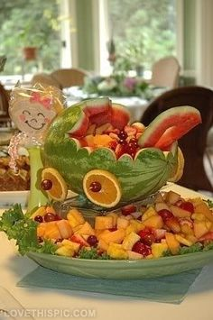 Baby shower ideas on pinterest baby shower favors for Baby shower fruit decoration ideas