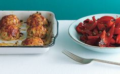 Baked Chicken Meatballs with Pepperonata