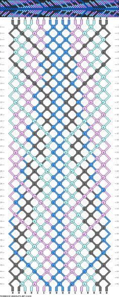 Cute friendship bracelet pattern.  Easy to follow once you understand the symbols, there's a tutorial too.  It looks like a feather when you're done! friendship bracelet patterns, friendship bracelets, feather