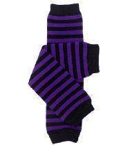 My Little Legs purple and black witch stripe baby leg warmers for girls or toddlers
