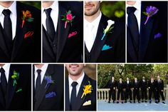Different color boutineers and matching pocket square for every groomsmen.